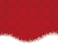 Röd bakgrund med den snökristallen och doilyen stock illustrationer