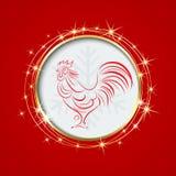 Röd bakgrund med en cirkel Inom symbolet av tuppen 2017 royaltyfri illustrationer
