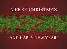 Röd bakgrund med glad jul för önska och lyckligt nytt år och gränsen av realistiska seende julgranfilialer dekorerade vektor illustrationer