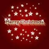 Röd bakgrund med glad jul för ord och guld- stjärnor Royaltyfri Fotografi