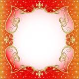 Röd bakgrund med guld (en) en prydnad vektor illustrationer