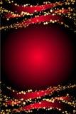 Röd bakgrund med guld- snowflakes Arkivbild