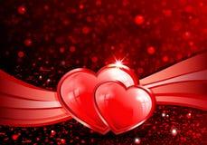 Röd bakgrund med konturn av två hjärtor Royaltyfria Foton