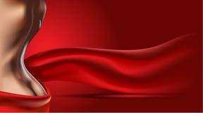 Röd bakgrund med kvinnakroppen Hudomsorg eller annonsmall realistisk konturillustration för kvinna 3D Pastellfärgad nakenstudie Arkivbilder