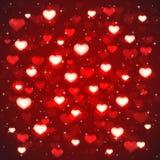 Röd bakgrund med oskarpa hjärtor royaltyfri illustrationer