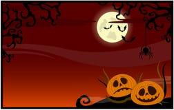 Röd bakgrund med pumpor på ett Halloween tema Fotografering för Bildbyråer