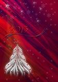 Röd bakgrund med snöflingor och den vita julgranen Arkivbild