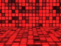 Röd bakgrund med upplysta fyrkanter Royaltyfri Foto