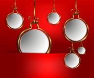 röd bakgrundsbolljul royaltyfri illustrationer