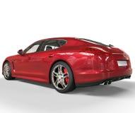 Röd baksidasikt för snabb bil Royaltyfri Foto