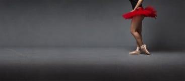 Röd ballerinakjol- och tåspetsarnasidosikt royaltyfri fotografi