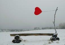 Röd ballong med hjärtaform på vinterbakgrund Fotografering för Bildbyråer