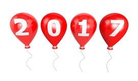Röd ballong på en rad 2017 år Typografisk konstbil för nytt år Royaltyfria Bilder