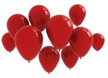 Röd ballonggrupp som isoleras på white Arkivfoto