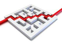 Röd bana som går till och med labyrint Arkivfoton