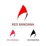 Röd Bandana Logo Template Arkivbild