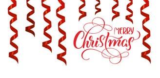 Röd bandbanderoll som garnering med glad jul för text Bokstäverkalligrafi vektor illustrationer