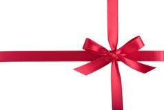 Röd bandbow för satäng Royaltyfri Fotografi