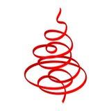 röd bandtree för jul royaltyfri illustrationer