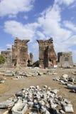 Röd Basilica i den forntida grekiska staden av Pergamon Fotografering för Bildbyråer