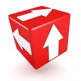 Röd begreppskub med den vita pilen Arkivbilder