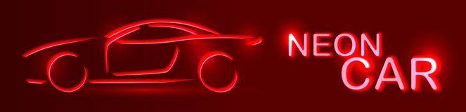 Röd bil för neon rengöringsduk för jordklotlogovektor Linjär auto illustration på en svart b Royaltyfri Bild