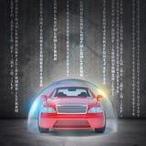 Röd bil i bubbla Arkivbild