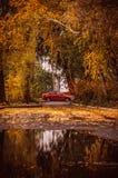 Röd bil i höststaden Royaltyfria Bilder