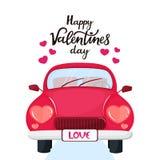 Röd bil med billyktor i formen av en hjärta Lycklig bokstäver för dag för valentin` s dragen hand stock illustrationer