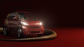 Röd bil med ljust och ormen Fotografering för Bildbyråer