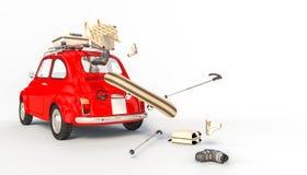 Röd bil och vintermaterial vektor illustrationer