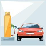 Röd bil på bränslestationen över blå bakgrund royaltyfri illustrationer