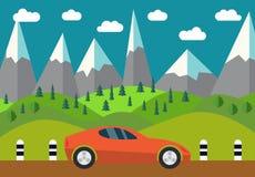 Röd bil på vägen vektor illustrationer