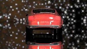 Röd bil under stjärnorna arkivfilmer