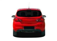 Röd bilbaksidasikt Arkivfoto