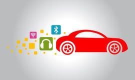 Röd bilsymbol royaltyfri illustrationer