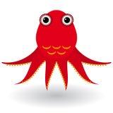 Röd bläckfisk på en vit bakgrund Fotografering för Bildbyråer