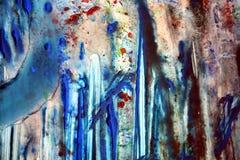 Röd blå vit mörk vattenfärgmålarfärg, den mjuka blandningen färgar och att måla spots bakgrund, färgrik abstrakt bakgrund för vat Royaltyfri Foto