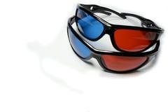 Röd-blåa exponeringsglas som ser de stereo- filmerna Royaltyfri Bild