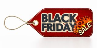 Röd Black Friday Sale etikett som isoleras på vit bakgrund illustration 3d Arkivbilder