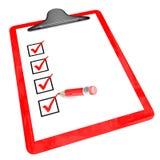 Röd blockhållare med den kontrollaskar och blyertspennan Royaltyfri Fotografi