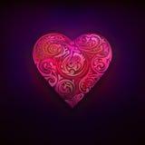 Röd blom- lövverkdesign som förälskelse- och hjärtasymboldiagram Arkivbild