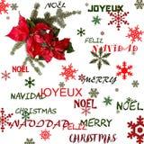 Röd blomma för julstjärna med granträdet och snö på vit bakgrund Hälsningsjulkort vykort christmastime Rött vitt och vektor illustrationer