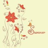 Röd blomma-, fjärils- och häftesommar Arkivfoto