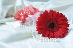 Röd blomma och halsband Fotografering för Bildbyråer