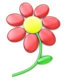 röd blomma som 3d isoleras på vit Arkivfoto
