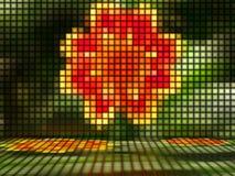 Röd blomma som göras ut ur ljusa kuber Arkivbild