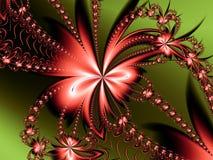 Röd blommafractal Arkivfoto