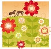 Röd blommaträdgård Royaltyfria Bilder