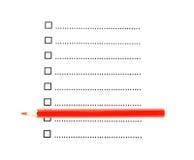 Röd blyertspenna med listan av okontrollerade checkboxes Royaltyfri Fotografi